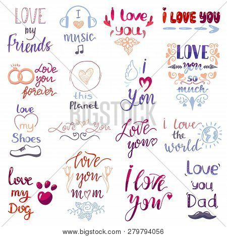 Love Lettring Vector Lovely Calligraphy Lovable Friendship Sign To Mom Dad Friend Iloveyou On Valent