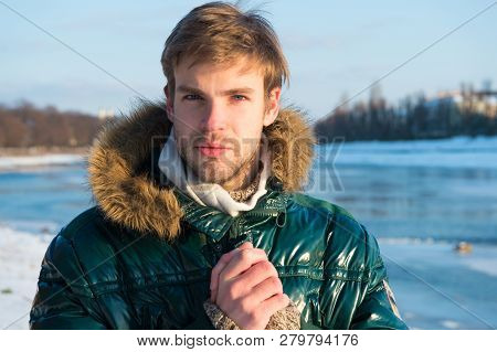 Sexy Man In Warm Clothes. Warm Clothes For Cold Season. Man Traveling In Winter, Nature. Winter Fash