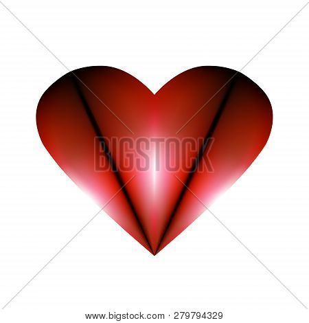 Abstract Folded Design Element For Valentines Day. Red Heart Icon Abstraction Smoldering In Night Li