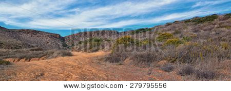 La Mision Valley Landscapes And Beach In Mexico On The West Coast A Small Canyon Near The Pacific Oc