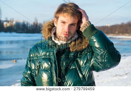 Happy Winter Holidays. Flu And Cold. Winter Fashion. Green Warm Coat. Warm Clothes For Cold Season.