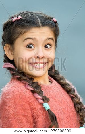 Girl Surprised Emotional Face. What A Surprising News. Childhood And Happiness Concept. Kid With Sur