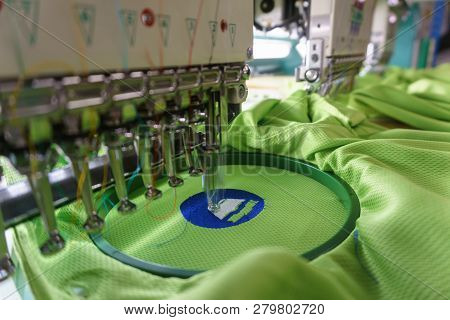 Embroidery Machine Needle In Textile Industry At Garment Manufacturers, Embroidery T-shirt In Progre