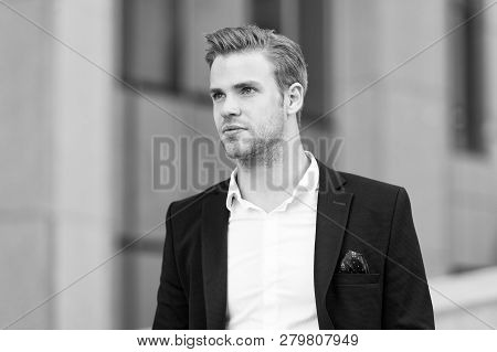 Businessman Looking Forward Future Opportunity. Man Well Groomed Suit Walk Urban Background. Busines