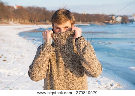 Winter Fashion. Warm Sweater. Sexy Man In Warm Clothes. Warm Clothes For Cold Season. Happy Winter H