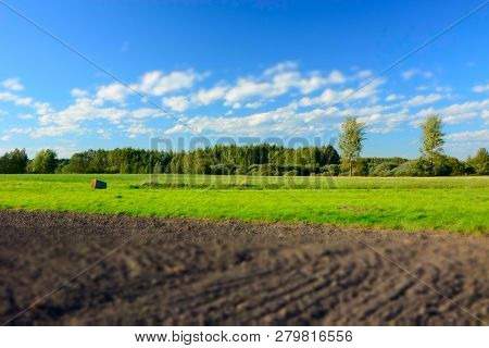 Plowed Field, Forest And White Clouds On Blue Sky - Blur And Contrasting Colors