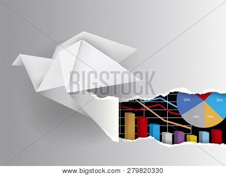 Origami Bird Ripped Paper With Charts. Origami Dove Ripping Grey Paper Background With Charts Symbol