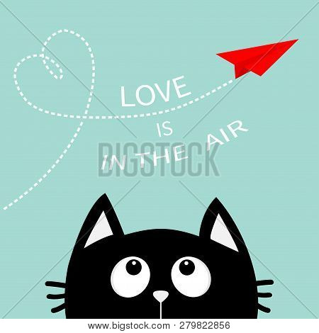 Heart Loop Love Is In The Air Text. Black Cat Looking Up To Red Flying Origami Paper Plane. Dashed L