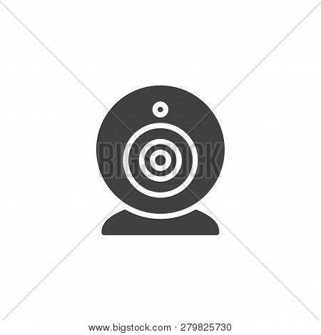 Web Camera vector icon. filled flat sign for mobile concept and web design. Virtual Webcam simple solid icon. Symbol, logo illustration. Pixel perfect vector graphics poster