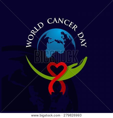 World Cancer Day Concept. World Awareness Ribbon Of Cancer.  Preventive Health Care Vector Banner.