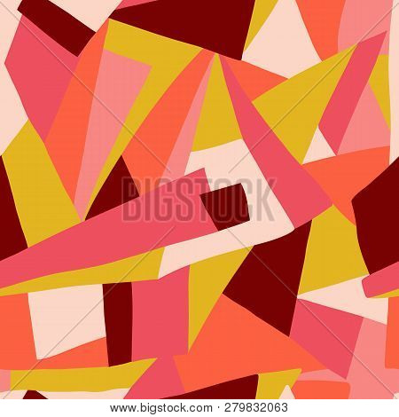 Contemporary Collage Pattern Vector. Geometric Colorful Shapes Seamless Background Red Coral Pink Go