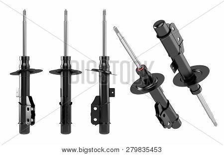 3d Rendering. Passenger Car Shock Absorber, New Auto Parts, Spare Parts. Spare Parts For Shop, After