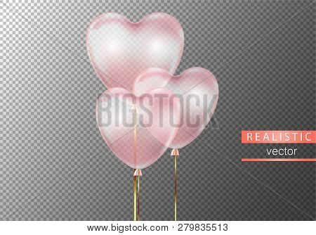 Realistic Pink Transparent Balloons Heart Shape On Transparent Background.