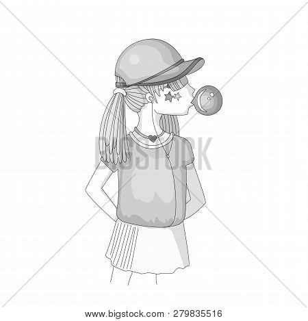 Colorless young teen girl in a baseball cap with headphones blowing bubblegum. Grayscale little girl vector cartoon hand draw illustration. Teenage girl, rebel girl illustration. Pre teen rebel grl poster