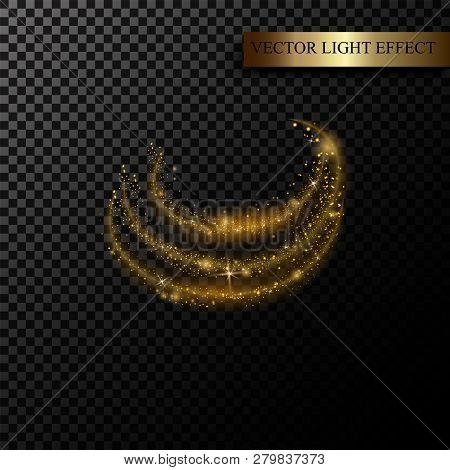 Sparkle Stardust. Golden Glittering Magic Vector Isolated On Black Transparent Background. Glitter B