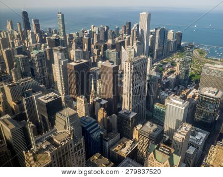 Chicago, Usa - May 24, 2018: The Famous Chicago Skyline Late In The Afternoon From Willis Tower Look