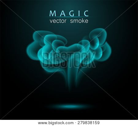 Magical Turquoise Smoke On The Dark Background. Bright Chemical Smoke. Vector Illustration.