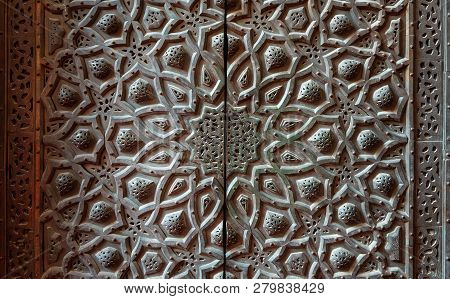 Cairo, Egypt - January 8 2019: Bronze-plate Door Ornaments At The Mosque Of Sultan Hassan Decorated