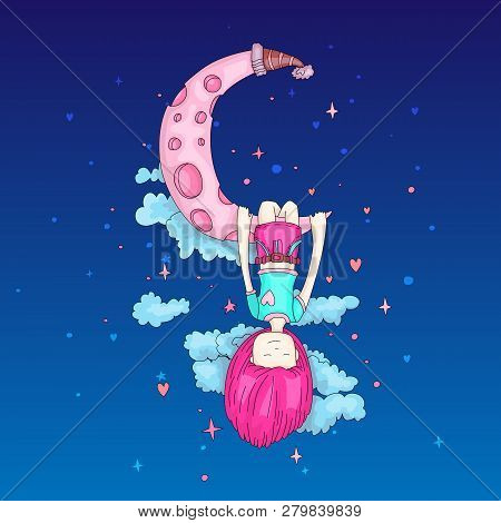 A Little Girl Sleeping And Dreaming, Hanging On A Crescent Moon Among The Stars And Clouds. Little G