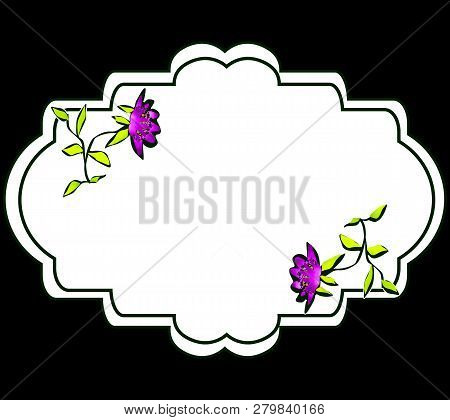 Abstract Simple Flowers Floral White Frame Black Background