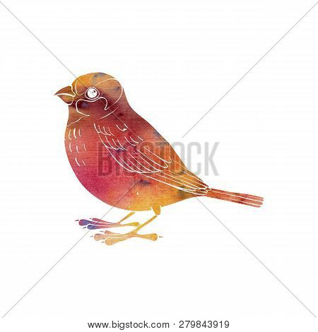 Watercolor Bird Silhouette, Hand Drawn Songbird, Isolated Element