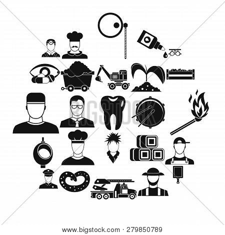 Occupational Icons Set. Simple Set Of 25 Occupational Vector Icons For Web Isolated On White Backgro