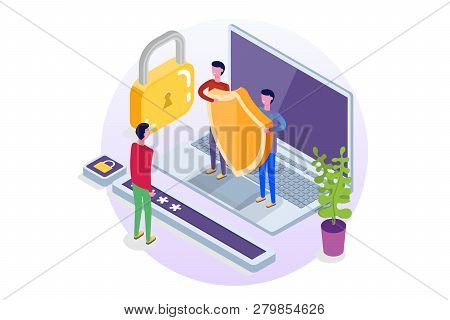 Gdpr, Data Protection Isometric Concept, Network Data, Internet Security, Secure Bank Transaction.