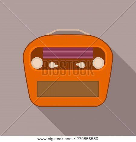 Vintage Portable Radio Icon. Flat Illustration Of Vintage Portable Radio Vector Icon For Web Design