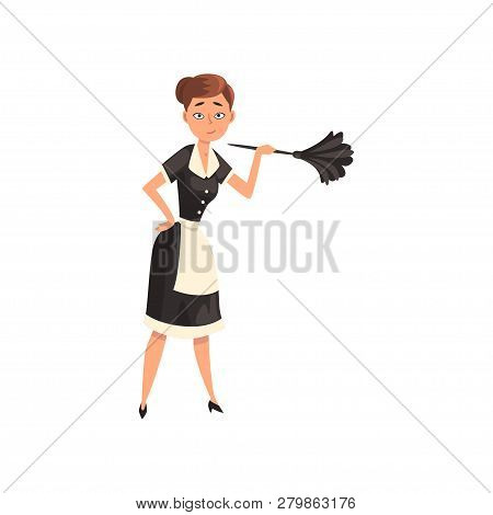 Maid Holding A Feather Duster, Housemaid Character Wearing Classic Uniform With Black Dress And Whit
