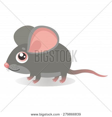 Fancy Little Mouse Vector Illustrations. Cute Running Mouse In Cartoon Style. Grey Mice On A White B