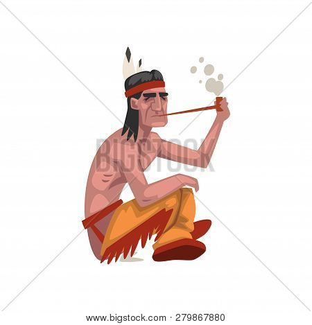Native American Indian Man Smoking Pipe, Tribe Member In Traditional Ethnic Clothes And Headband Wit