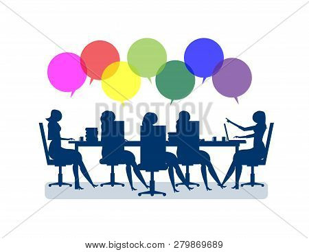 Business people brainstorming. Concept business illustration, businesswomen meeting for marketing deals to sucess. Vector flat poster