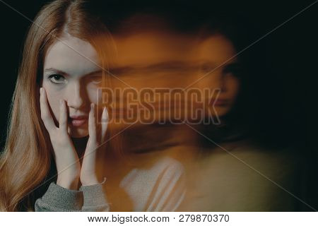 Pretty Young Redhead Girl With Anxiety Disorder Hiding Her Face, Mental Disorder Concept
