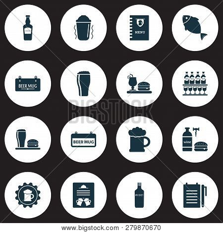 Alcohol icons set with tavern, record an order, bar menu and other draught elements. Isolated  illustration alcohol icons. poster
