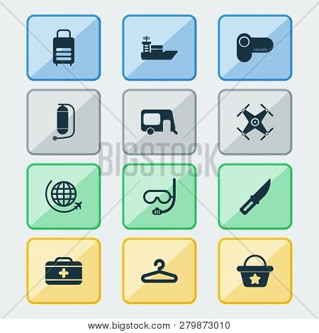 Journey Icons Set With Hanger, Quadrupter, Flight And Other Video Camera Elements. Isolated Vector I
