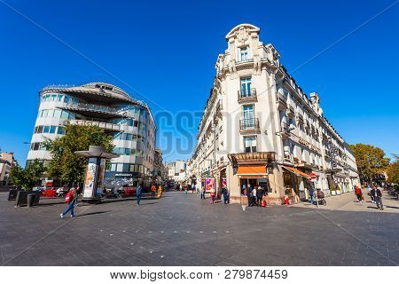 Tours, France - September 15, 2018: Street In The Tours City, Loire Valley Of France