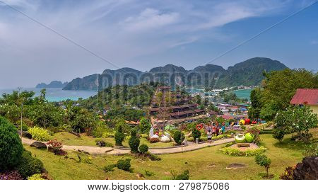 Phi Phi, Thailand - April 4, 2018 : Panoramic View Over The Tonsai Village And The Mountains Of Koh