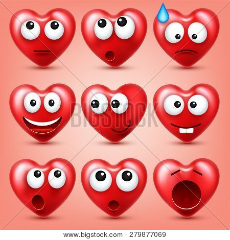 Heart Emoji Vector Set For Valentines Day. Funny Red Face With Expressions And Emotions. Love Symbol