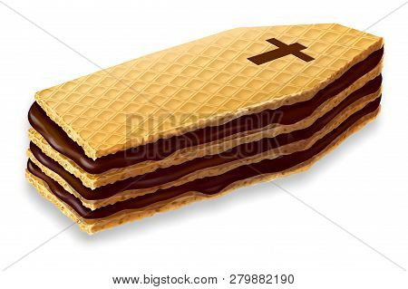 Wafers In The Shape Of Coffin, Too Many Sweets Are Harmful To Health, 3d Illustration