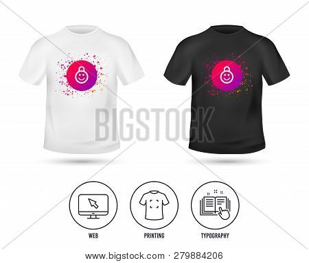 T-shirt Mock Up Template. Child Lock Icon. Locker With Smile Symbol. Child Protection. Realistic Shi
