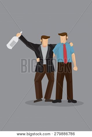 Cartoon Man Holding A Drink Bottle And Supported By His Buddy. Vector Illustration On Drinking Buddy