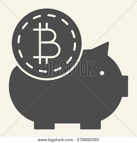 Saving Crypto Money Solid Icon. Bitcoin Piggy Bank Vector Illustration Isolated On White. Crypto Coi