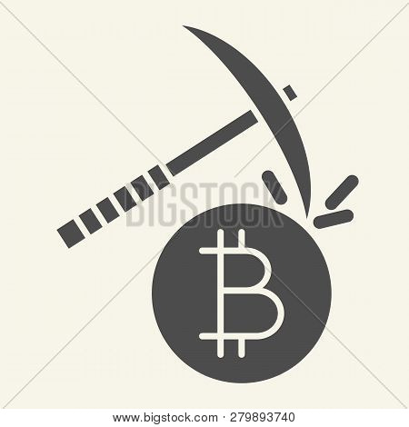 Cryptocurrency Mining Solid Icon. Crypto Pickaxe Vector Illustration Isolated On White. Bitcoin Mini