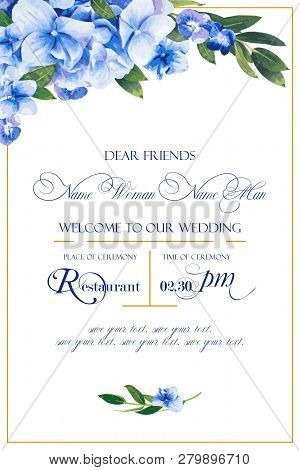 Floral Vector Template For Wedding Invitation, Greeting Background In Blue Colors. Beautiful Flowers