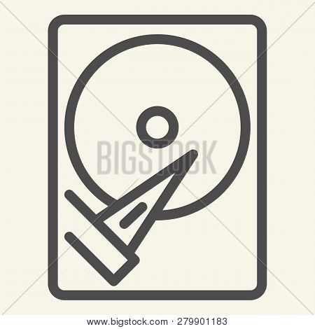 Hard Disk Line Icon. Storage Vector Illustration Isolated On White. Hard Drive Outline Style Design,