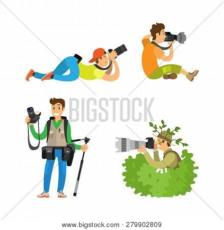 Photographers With Cameras And Photo Equipment. Modern Devices For Taking Picture, Photojournalists