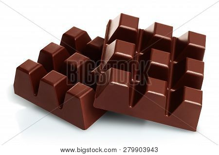 Dark Chocolate Pieces Isolated On White Background Close-up