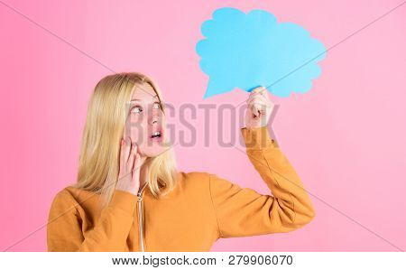 Idea And Creativity Concept. Ideas And Thoughts Copy Space. Girl Cute Blonde With Speech Bubble. Tho