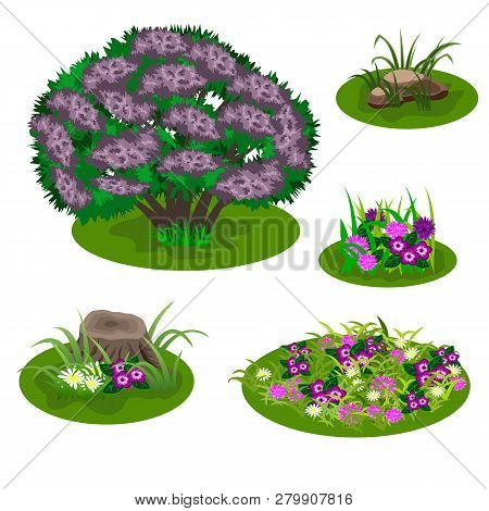 Set Of Landscape Elements For Summer Forest Or Garden Scene Design. Bush, Lilac In Blossom, Flowers