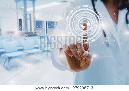 Female Doctor With Stethoscope Hand Pointing Touching World Map Data Digital Icon Hologram With Blur